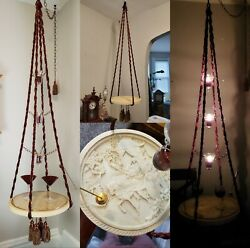 Rare Candlelit Hanging 1920's Chinese Carved Alabaster Swag Table