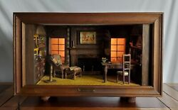 Rare Antique Lighted Shadow Box Miniature Room The Library Kupjack Thorne