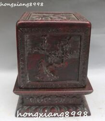 Old China Redwood Wood Plum Blossom Flower Tree Seal Stamp Signet Box Case Boxes
