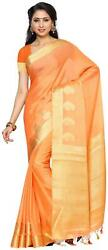 Mimosa Peach Solid Universal Regular Saree , With Blouse-0kt