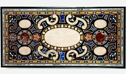 Marble Dining Table Top Stone Inlay Work Garden Table Home Decor 30 X 72 Inches