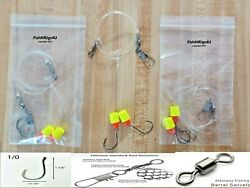 12 Surf Fishing Rigs 1/0 Hook Pompano Whiting Drum Flounder 40lb Fluorocarbon