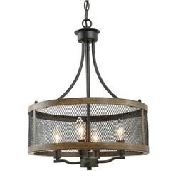 Laluz 16 In. 4-light Modern Farmhouse Black Pendant/chandelier With Wood Accent