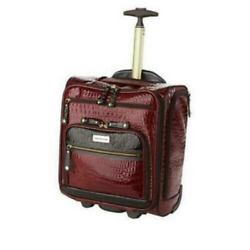 Samantha Brown Embossed Rolling Carry-it-all Bag Crocco Burgundy Red Nwt New