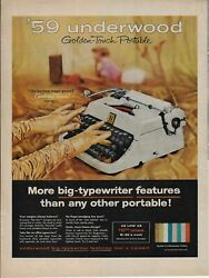 1958 New Underwood Portable Typewriter And03959 Golden Touch Magic Gloves Ad