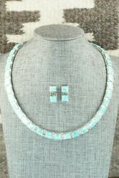 Turquoise And Sterling Silver Necklace And Earrings - Calvin Begay