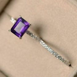 Emerald 3.10 Ct Real Diamond Amethyst Ring Set Solid 18k White Gold Size 5 6 7 8