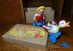 Mint 1930's Vintage Duck Scatter Celluloid Windup Toy With Original Box And Key