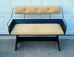 Exc Vintage Upholstered Buggy Wagon Seat W/ Wood And Metal Construction Will Ship