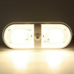 Rv Ceiling Light Led Fixture Double Dome 4500k Camp Trailer Home Lamp Fitting