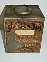 Rare Vintage Chase And Sanborn Coffee Large Can Tin With Lid Paper Label
