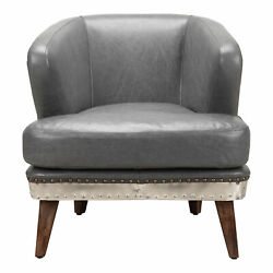 Moe's Home Industrial Cambridge Lava Grey Leather Club Chair Pk-1062-29