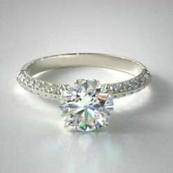 Christmas Gift 0.95 Ct Real Diamond Wedding Rings Solid 14k White Gold Size 6