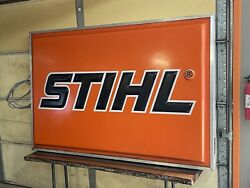 Large Stihl Chainsaw Sign 6ftx4ft Led Lighted Vintage Sign - Great Shape