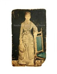 Vintage 19thc African American Woman Victorian Studio Painted Photo