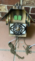 Vintage Cuckoo Clock West Germany. For Parts Or Repair As Is Bird And Man
