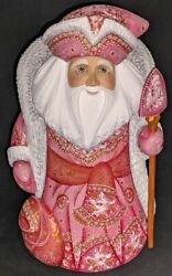 Russian Santa Claus W/pink And White Floral Cloak 2907 Handpainted Wood Statue