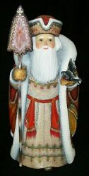 Wow Bright Red And Gold Russian Santa W/ Hand Painted Beaded Cloak And Bird 2027