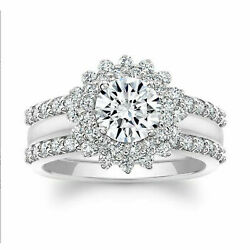 1.42 Ct Coupe Ronde Real Diamond Engagement Ring Solide 950 Platine Groupe N O P