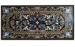 Black Marble Hotel Table Top With Handmade Crafts Dining Table 30 X 60 Inches