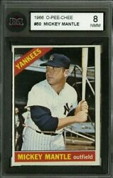 1966 O-pee-chee 50 Mickey Mantle Ksa 8 Pack Fresh Extremely Sharp Brilliant Card