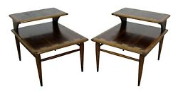Pair Of Mid-century Danish Modern Andre Bus Lane Acclaim 2-tier End Tables