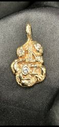 14k One Ounce Diamond Nugget Pendent With Diamonds