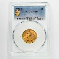 1902-s 5 Gold Liberty Graded By Pcgs As Ms-65 Gorgeous Half Eagle