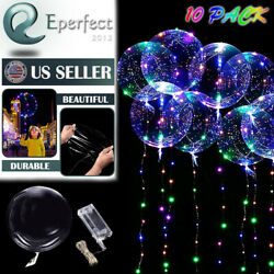 10 Pack LED Light Up BoBo Balloons 20quot; Party Birthday Transparent Bubble Balloon $12.99