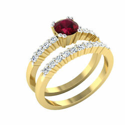 Real 1.00 Ct Diamond Gemstone Ruby Ring Set Solid 18k Yellow Gold Rings Size M N