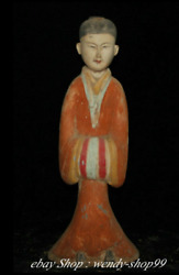 Old Chinese Tang Sancai Ceramics Dynasty Palace Stand People Sculpture