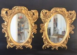 Pair Vintage French Mirrors In Carved Gilt Wood Frames 38 X 30 Cm.