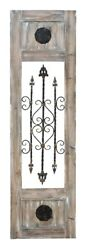 Rustic Wood Wall Panel Wrought Bars Scroll Design Floral Plaques Decor 56155