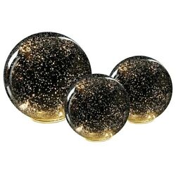 Lighted Mercury Battery Operated Glass Ball Sphere For Home Decor - Set Of Three