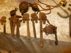 3 Vintage Block Andtackell And 7 Pipe Wrenches And Chain Vise