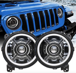 Z-offroad New 9 Inch Led Halo Headlights With White Drl For Jeep 1 Pair Black
