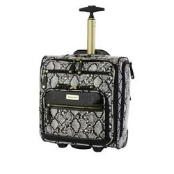 Samantha Brown Embossed Rolling Carry-it-all Bag Snake Print White Black Nwt New