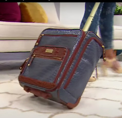 Samantha Brown Embossed Rolling Carry-it-all Bag Crocco Bravo Blue Nwt New