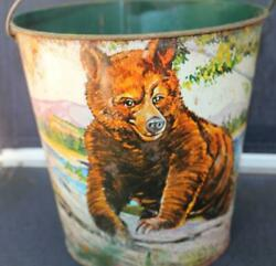 Vintage Chein Tin Sand Pail Wildlife At The Lake Grizzly Bear Deer Unusual