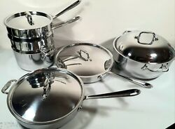 All-clad D3 Stainless Steel 10 Piece Steamer Dutch Oven Frying Pan Double Boiler
