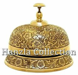 6 Solid Brass Ornate Hotel Counter Desk Bell Vintage Engraved Service Call Bell