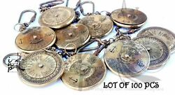 Brass Nautical Lot Of 100 Pcs Antique Finish 100 Year Compass Key Chain Ring