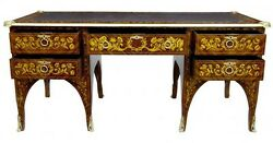 French Empire Desk - Marquetry Inlay Bureau Plat Writing Table