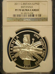 2011 Great Britain Silver Britannia Proof 2 Pounds Coin Ngc Pf 70 Ultra Cameo