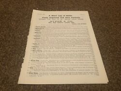 Aabk17 Antiques Advert Myers And Co Ltd Books And Rare Portraiuts List 4 Pages
