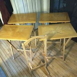 Set Of 4 Maple Wood Tv Trays Folding Tray End Tables W/ Stand - Vintage