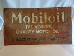 Vintage Double-sided Mobiloil The World's Quality Motor Oil Sign - Free Shipping