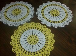 Three Yellow And White Round Gift Doilies For spring/fall Décor new/handmade