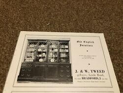 Ant10 Antique Advert 5x8 J And W Tweed Breakfront Library Bookcase
