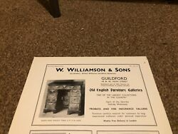 Ant3 Antique Advert 5x8 W Williamson And Sons Queen Anne Walnut Table